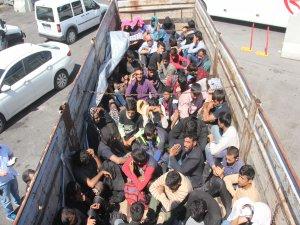 Kamyon kasasında 61 kaçak göçmen