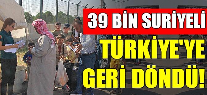 39 Bin Suriyeli Türkiye'ye döndü