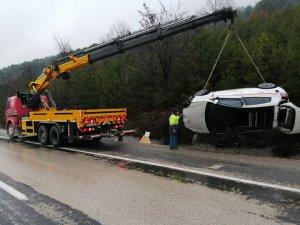 Bursa'da kaza: Su kanalına uçtu