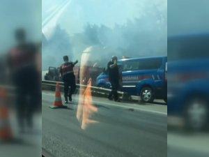 İstanbul yolunda korkutan yangın!