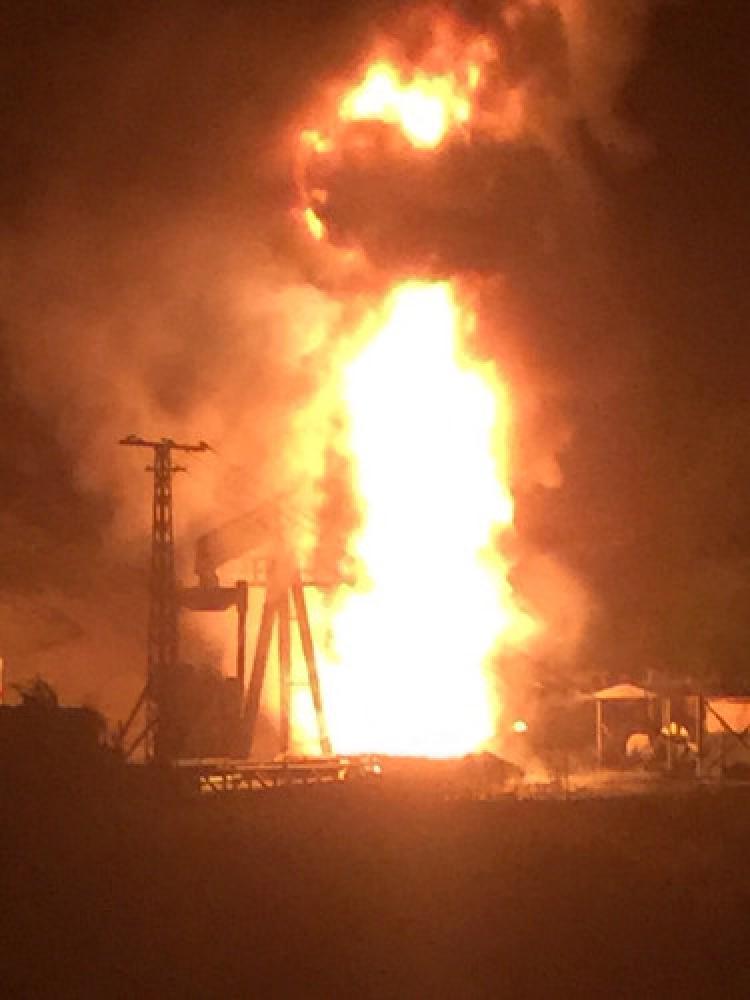 Petrol kulesinde yangın çıktı