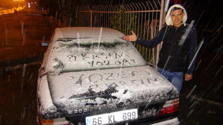 Yozgat'a mevsimin ilk karı yağdı
