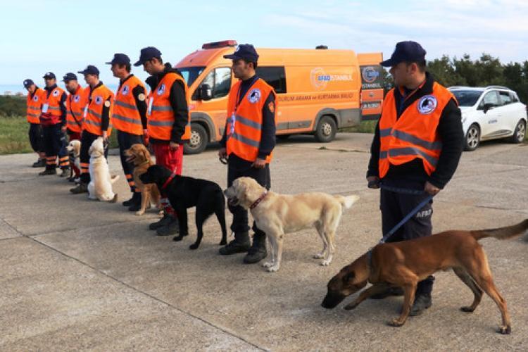 Afetlerde canlı insan arayacak köpekler zorlu sınava tabi tutuldu