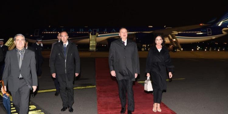Cumhurbaşkanı Aliyev Fransa'ya gitti