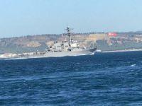 Savaş gemisi Çanakkale Boğaz'ından geçti!