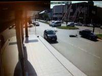 Bisiklet sürücüsü metrelerce sürüklendi!