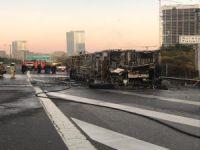 Halk otobüsü yandı
