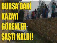 Bursa'da araba evin bahçesine uçtu!